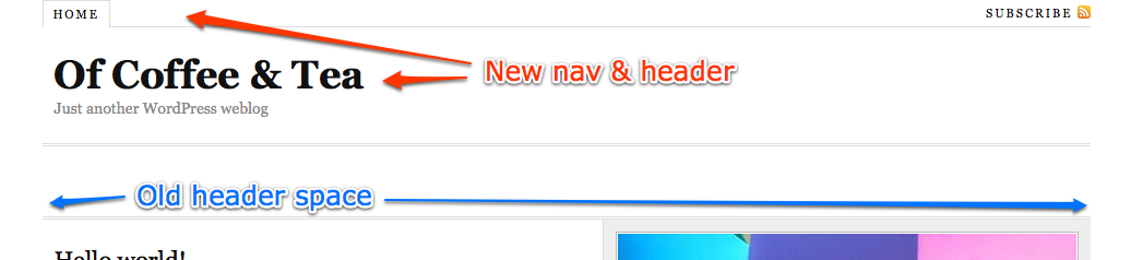 Replace header with new title and navigation